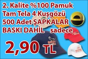 2.Kalite %50 Pamuk %50 Polyester Şapka